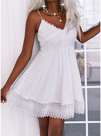 Solid A-line Sleeveless Mini Casual Vacation Skater Type Dresses