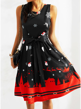 Print A-line Sleeveless Midi Party Christmas Skater Dresses