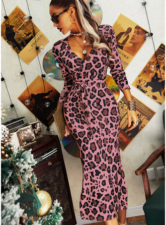 Leopard Bodycon Long Sleeves Midi Elegant Pencil Dresses