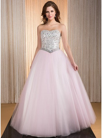 Ball-Gown Sweetheart Floor-Length Taffeta Tulle Prom Dress With Beading Sequins