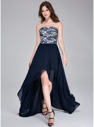 A-Line/Princess Sweetheart Asymmetrical Chiffon Prom Dress