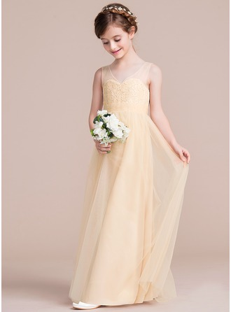 A-Line/Princess Floor-length Flower Girl Dress - Tulle/Lace Sleeveless V-neck With Ruffles