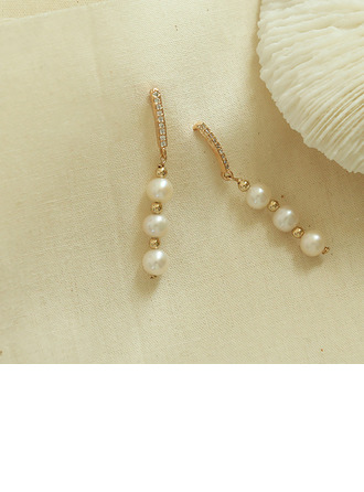 Ladies' Unique Gold Plated/Brass With Round Pearl Earrings For Bridesmaid/For Friends