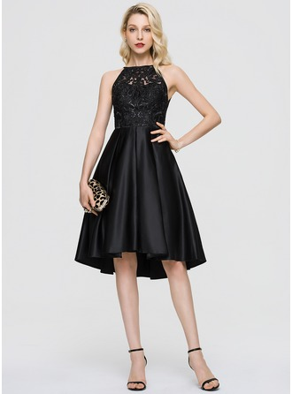 A-Line Scoop Neck Asymmetrical Satin Homecoming Dress With Sequins Pockets