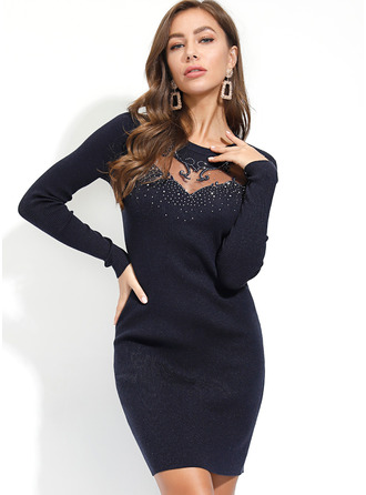 Above Knee Round Neck Polyester Solid Long Sleeves Fashion Dresses