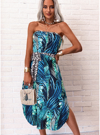 Leopard Print Backless A-line Sleeveless Midi Casual Vacation Skater Dresses