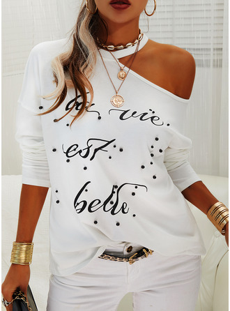 Beaded Figure Print One Shoulder Long Sleeves Casual Blouses