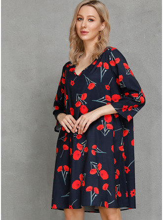 Floral Print Shift 3/4 Sleeves Midi Casual Tunic Dresses