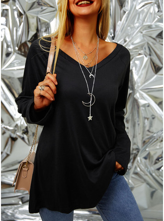 Solid V-Neck Long Sleeves Basic Casual T-shirt (1003251493)