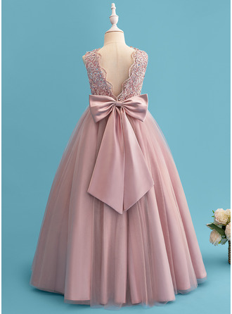 Ball-Gown/Princess Floor-length Flower Girl Dress - Satin/Tulle/Lace Sleeveless Scoop Neck With Beading/Sequins