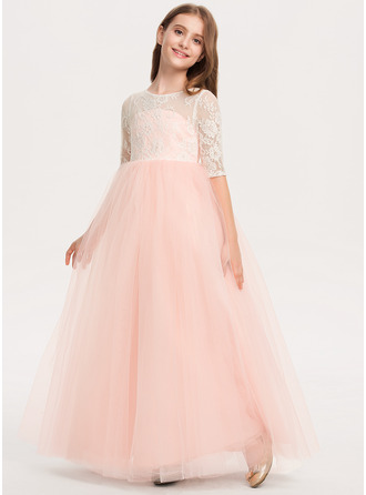 Ball-Gown/Princess Scoop Neck Floor-Length Tulle Lace Junior Bridesmaid Dress