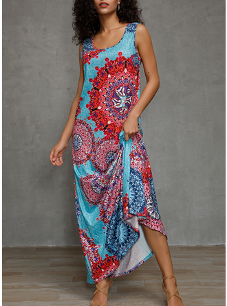 Floral Print Shift Sleeveless Maxi Boho Casual Vacation Tank Dresses