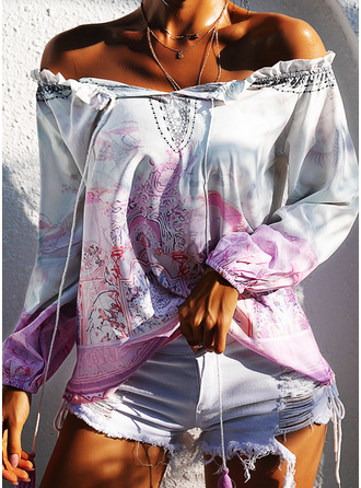 Print Off the Shoulder Long Sleeves Casual