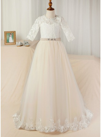 Ball-Gown Scoop Neck Court Train Tulle Junior Bridesmaid Dress With Sash Beading