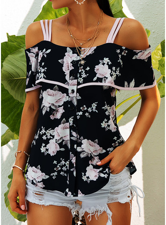 Floral Print Cold Shoulder Sleeveless Casual Blouses