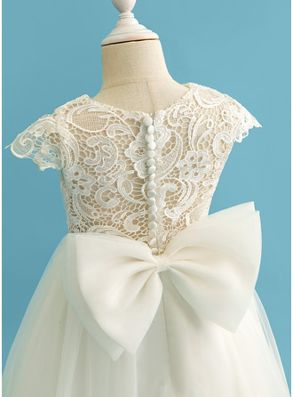 Ball-Gown/Princess Floor-length Flower Girl Dress - Tulle/Lace Short Sleeves Scoop Neck With Bow(s)