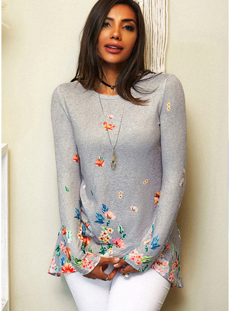 Floral Print Round Neck Long Sleeves Casual Blouses