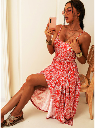 Knee Length Spaghetti Straps Polyester Print Sleeveless Fashion Dresses