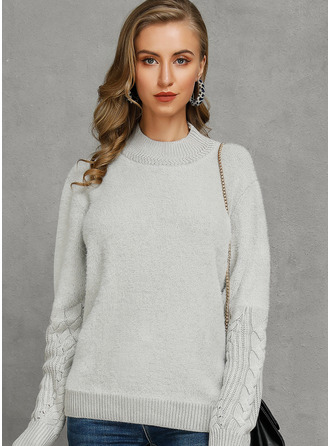Stand collar Casual Cable-knit Chunky knit Sweaters