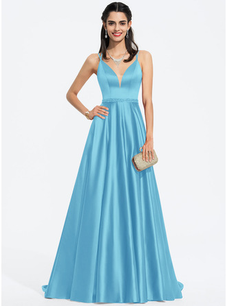 A-Line V-neck Sweep Train Satin Prom Dresses With Beading Sequins Split Front