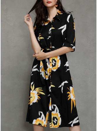 Floral Print A-line 1/2 Sleeves Long Sleeves Maxi Midi Casual Shirt Dresses