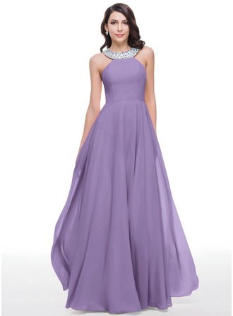 A-Line Scoop Neck Floor-Length Chiffon Prom Dresses With Beading