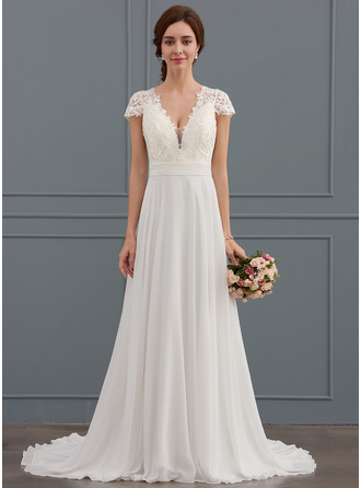 A-Line V-neck Sweep Train Chiffon Wedding Dress With Ruffle