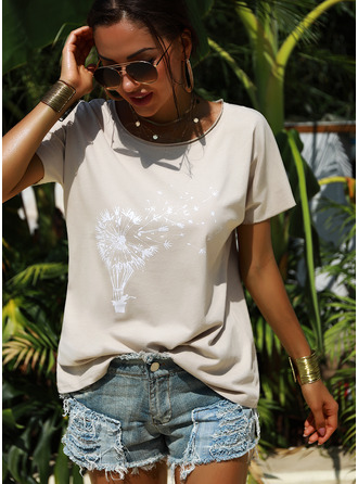 Print Short Sleeves Cotton Round Neck T-shirt Blouses