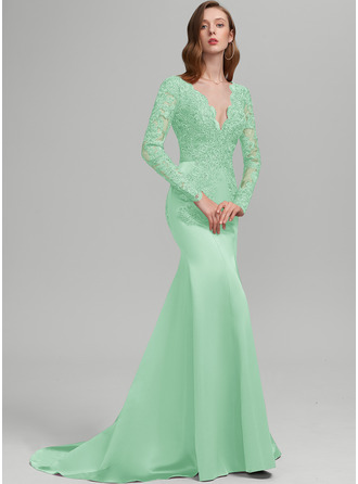 Trumpet/Mermaid V-neck Sweep Train Satin Prom Dresses With Sequins