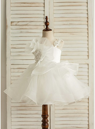A-Line/Princess Knee-length Flower Girl Dress - Satin/Tulle Sleeveless Straps With Bow(s)