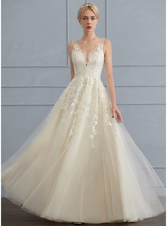 A-Line V-neck Floor-Length Tulle Wedding Dress With Beading Sequins