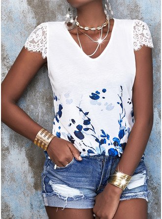 Floral Lace Print V-Neck Short Sleeves Casual Blouses