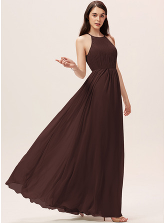 A-Line Scoop Neck Floor-Length Chiffon Bridesmaid Dress With Ruffle