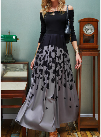 Animal Print A-line Long Sleeves Maxi Elegant Skater Dresses