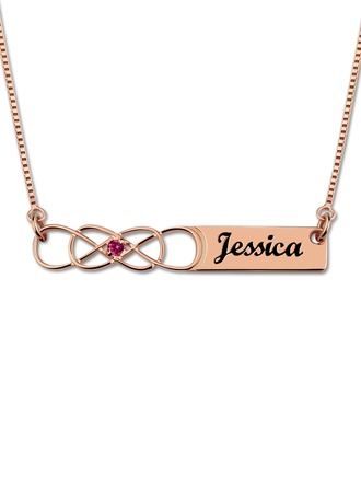 Custom 18k Rose Gold Plated Infinity Engraving/Engraved Name Necklace Bar Necklace