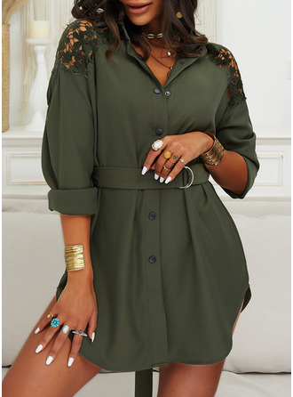 Lace Solid Shift Long Sleeves Mini Casual Shirt Dresses
