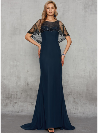 Trumpet/Mermaid Scoop Neck Sweep Train Chiffon Evening Dress With Beading Sequins