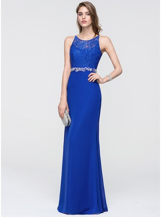 Sheath/Column Scoop Neck Floor-Length Chiffon Prom Dress With Beading