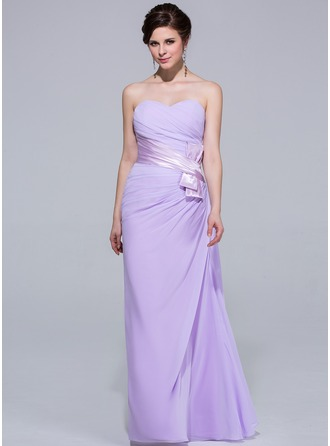 Sheath/Column Sweetheart Floor-Length Chiffon Bridesmaid Dress With Ruffle