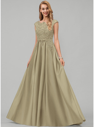 A-Line Scoop Neck Floor-Length Satin Prom Dresses With Lace Beading Sequins Bow(s) Pockets