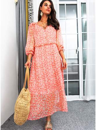Floral Print Shift Long Sleeves Maxi Casual Dresses