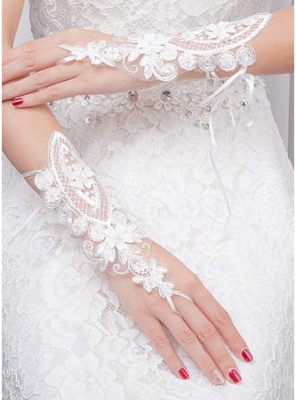 Knitting Wrist Length Bridal Gloves With Embroidery