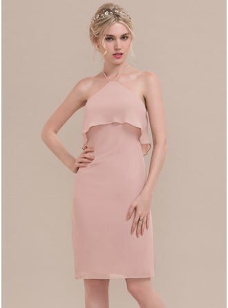 Sheath/Column Cowl Neck Knee-Length Chiffon Cocktail Dress