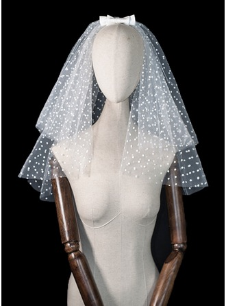 Two-tier Beaded Edge Shoulder Veils With Satin Bow