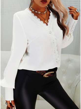 Lace Solid V-Neck Lantern Sleeve Long Sleeves Elegant Blouses
