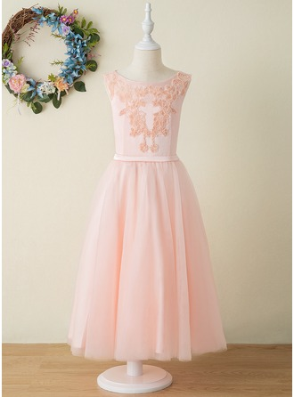 A-Line Ankle-length Flower Girl Dress - Tulle/Lace Sleeveless Scoop Neck With Appliques