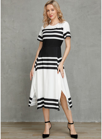 Color Block Striped A-line Short Sleeves Maxi Casual Elegant Skater Dresses