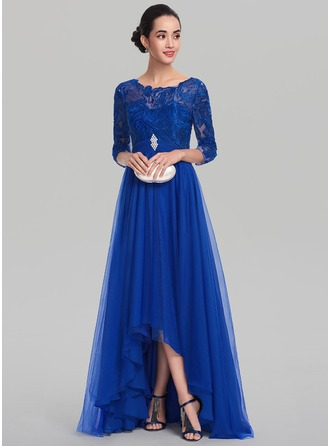 A-Line/Princess Scoop Neck Asymmetrical Tulle Evening Dress With Ruffle Beading