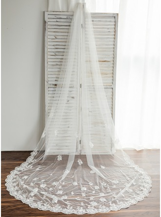 One-tier Chapel Bridal Veils With Lace