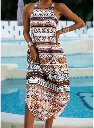 Print Shift Sleeveless Maxi Boho Casual Vacation Dresses